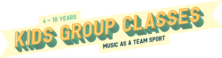 Kids group classes. Ages 4-10 years. Music as a team sport!